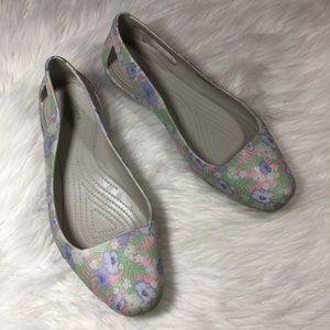 Crocs Gray Floral Ballet Flat Size 11